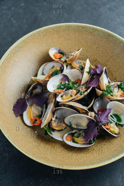 Close up of a gourmet clam dish