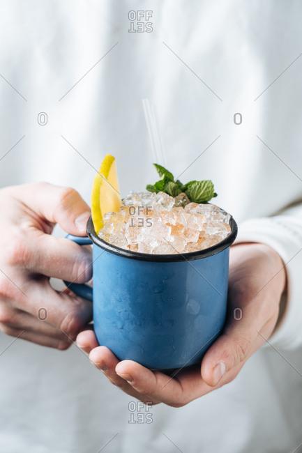 Icy drink in a blue mug