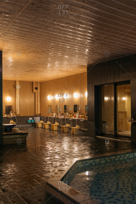 Tsu, Japan - November 15, 2018: Interior of onsen bath area at the Hinotani Onsen Misugi Resort