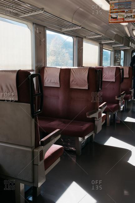 Japan - November 15, 2018: Interior of Japanese train