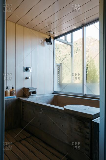 Japan - November 15, 2018: Japanese wooden bathtub