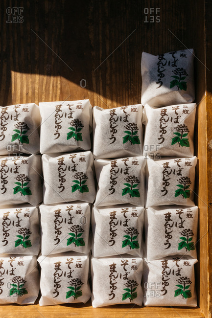 Small packages of Japanese sweets