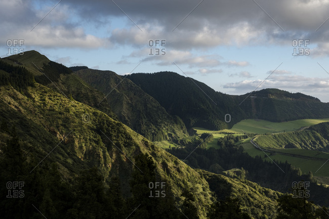 Green hills of Sao Miguel in the Azores islands