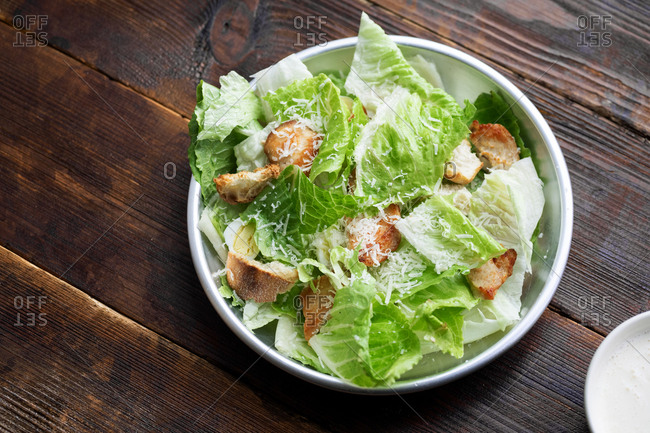 Ceasar salad with romaine lettuce, croutons and parmesan cheese