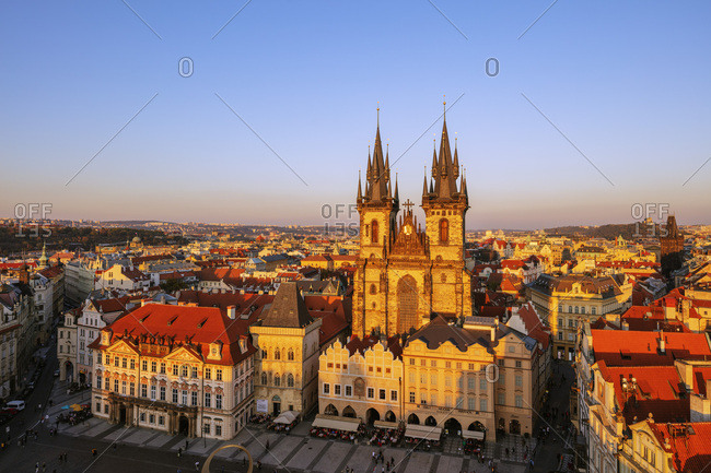 October 10, 2018: Old Town Square, Our Lady before Tyn church, UNESCO World Heritage Site, Prague, Czech Republic, Europe