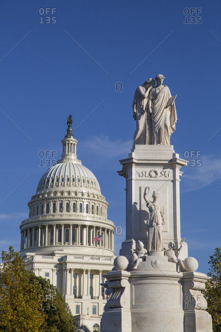 Peace Monument in foreground, United States Capitol Building in the background, Washington D.C., United States of America, North America