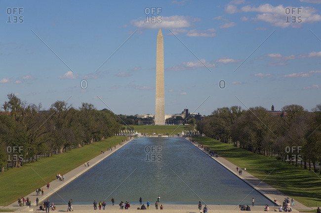 October 17, 2018: Washington Monument taken from Lincoln Monument, Washington D.C., United States of America, North America
