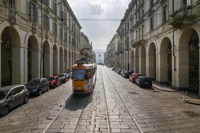 September 8, 2018: View of tram on Via Roma, Turin, Piedmont, Italy, Europe