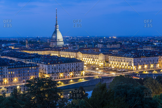 September 9, 2018: View of Turin and Mole Antonelliana from Santa Maria del Monte dei Cappuccini at dusk, Turin, Piedmont, Italy, Europe