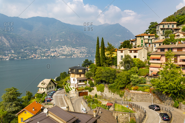 September 13, 2018: View of Lake Como from Nesso, Province of Como, Lake Como, Lombardy, Italian Lakes, Italy, Europe