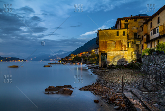 View of Lake Como from Lezzeno at dusk, Province of Como, Lake Como, Lombardy, Italian Lakes, Italy, Europe