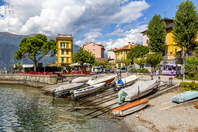 September 14, 2018: View of boats in harbour in Vezio, Province of Como, Lake Como, Lombardy, Italian Lakes, Italy, Europe