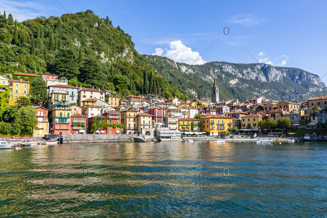 September 14, 2018: View of lake and village of Vezio, Province of Como, Lake Como, Lombardy, Italian Lakes, Italy, Europe