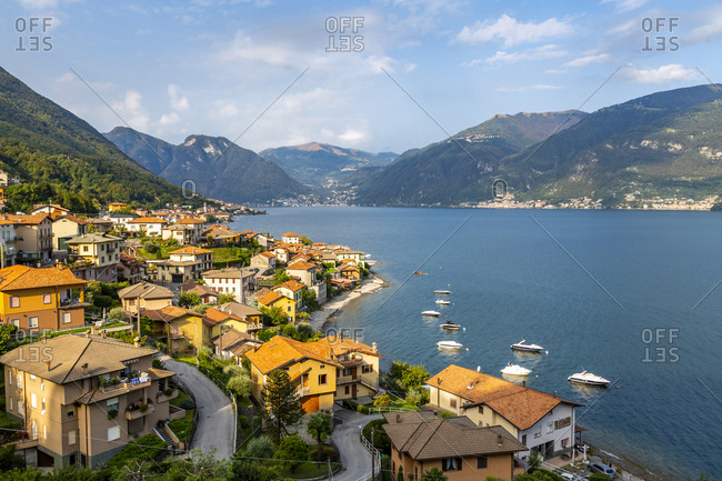 September 15, 2018: View of Lake Como village of Lezzeno, Province of Como, Lake Como, Lombardy, Italian Lakes, Italy, Europe