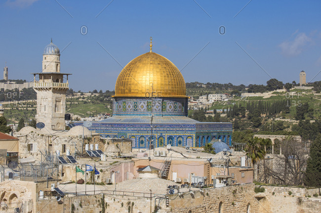 March 14, 2016: Dome of the Rock, Old City, UNESCO World Heritage Site, Jerusalem, Israel, Middle East