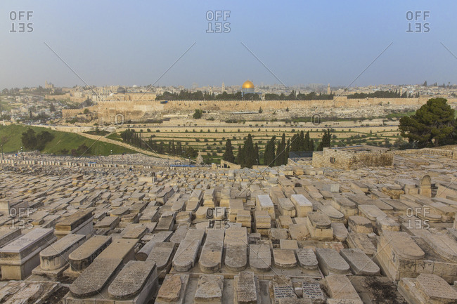 March 15, 2016: View of Mount of Olives and Dome of the Rock, Jerusalem, Israel, Middle East