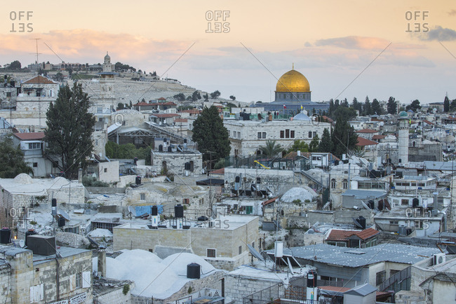 March 16, 2016: View over Muslim Quarter towards Dome of the Rock, Jerusalem, Israel, Middle East