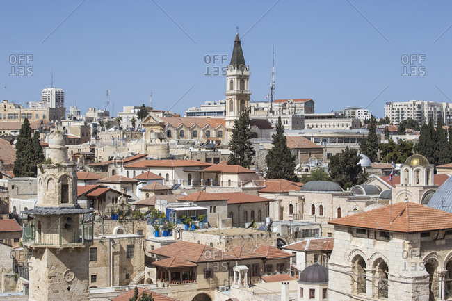 March 11, 2016: View of Christian Quarter and the Church of the Holy Sepulchre, Old City, UNESCO World Heritage Site, Jerusalem, Israel, Middle East