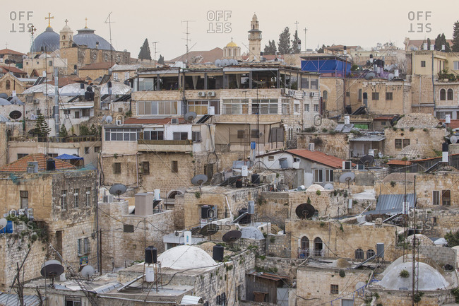 March 13, 2016: View of Muslim Quarter, Old City, UNESCO World Heritage Site, Jerusalem, Israel, Middle East