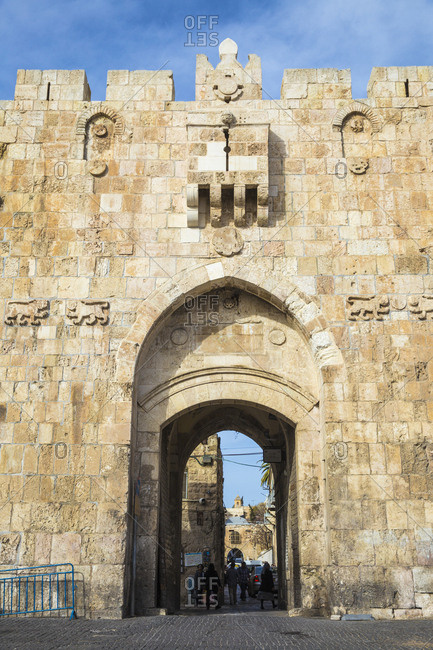 March 12, 2016: St. Stephen's Gate (The Lion Gate), Old City, UNESCO World Heritage Site, Jerusalem, Israel, Middle East