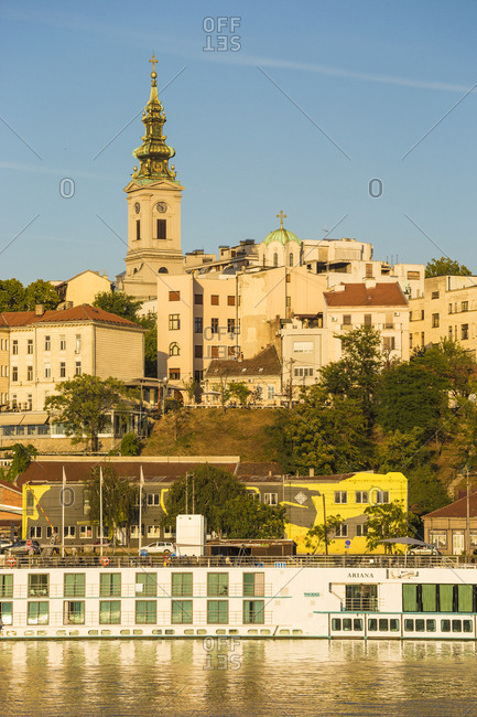 September 12, 2018: View of Sava River across to St. Michael's Cathedral in the historical center, Belgrade, Serbia, Europe