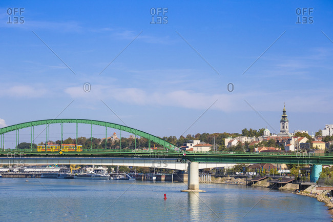 September 16, 2018: Stari Savski Most (Old Sava Bridge) over Sava River, Belgrade, Serbia, Europe