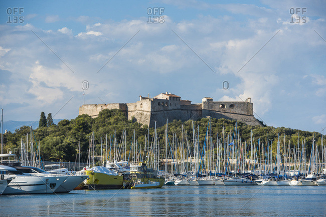 September 7, 2018: Fort Carre and Antibes Harbour, Provence-Alpes-Cote d'Azur, French Riviera, France, Mediterranean, Europe