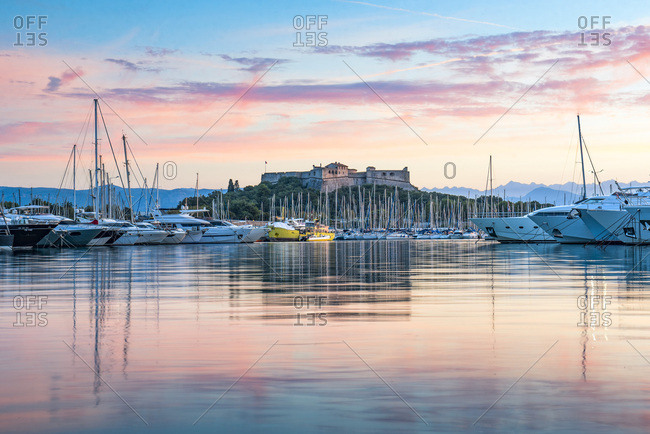 September 9, 2018: Fort Carre and Antibes Harbour at sunrise, Provence-Alpes-Cote d'Azur, French Riviera, France, Mediterranean, Europe