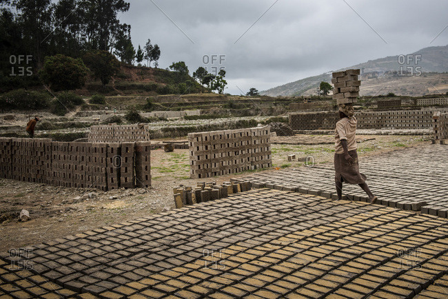 Brick workers near Ranomafana, Haute Matsiatra Region, Madagascar, Africa