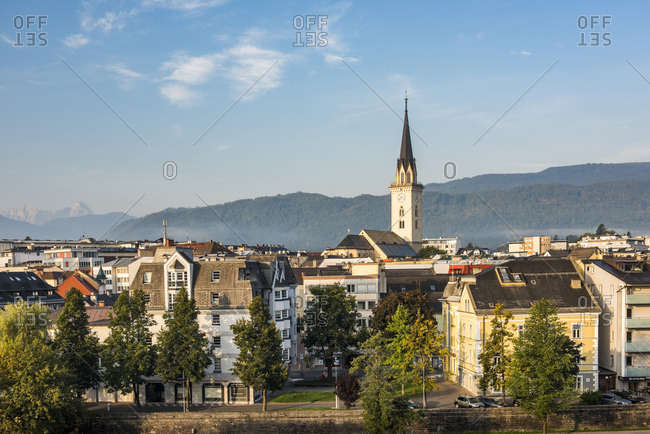 September 17, 2018: Church of St. Jakob rising above Villach skyline, Carinthia, Austria, Europe