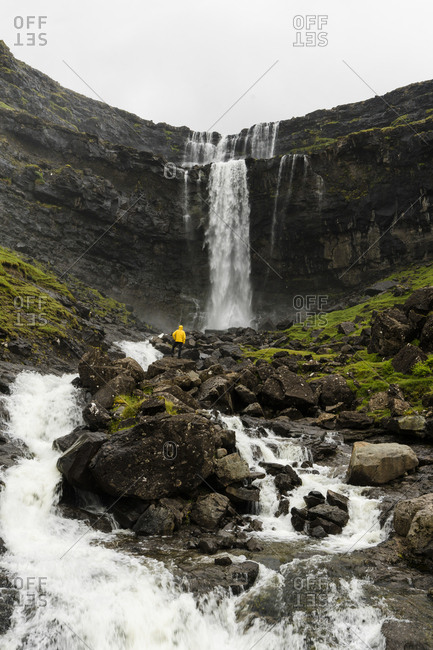 Fossa waterfall, Streymoy island, Faroe Islands, Denmark, Europe