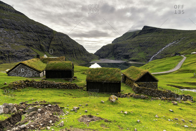 Traditional houses with grass roof, Saksun, Streymoy island, Faroe Islands, Denmark, Europe