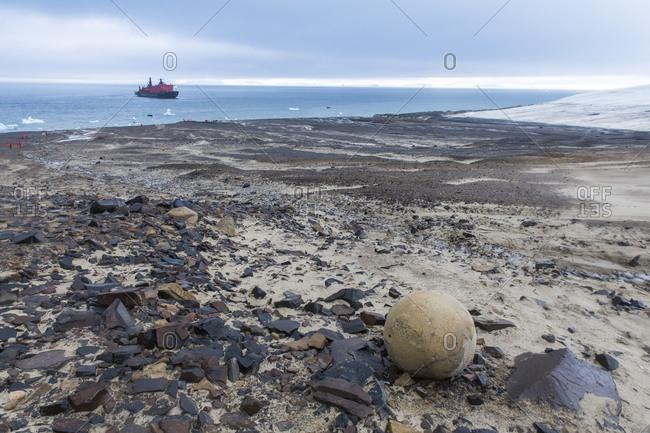 August 8, 2018: Giant stone sphere, Champ Island, Franz Josef Land archipelago, Arkhangelsk Oblast, Arctic, Russia, Europe