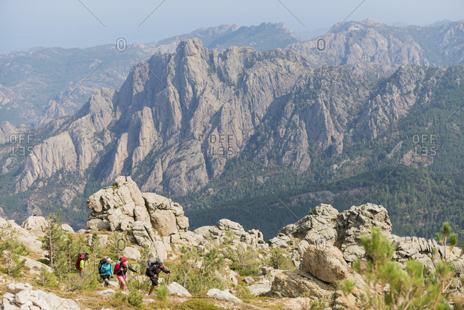 September 9, 2017: Trekking on the GR20 in Corsica near the Aiguilles de Bavella towards Refuge d'Asinao, Corsica, France, Mediterranean, Europe