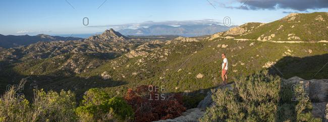 September 21, 2017: Wild mountainous coastline in north Corsica near Saint-Florent looking towards Cap Corse, Corsica, France, Mediterranean, Europe