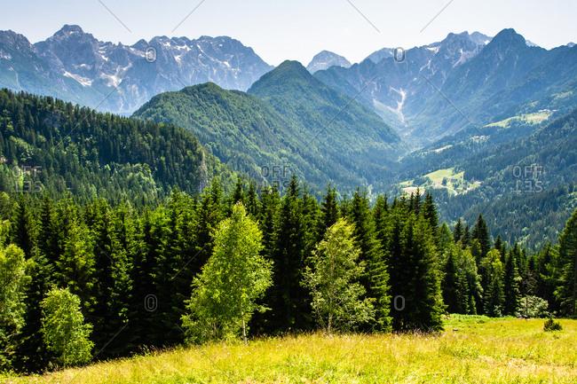 View of mountains near Logarska Dolina, Slovenia, Europe