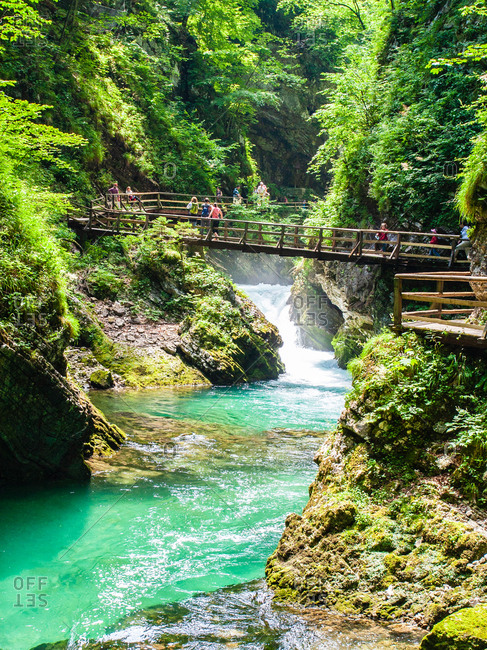 June 28, 2008: Radovna River flowing through Vintgar Gorge, near Bled, Slovenia, Europe