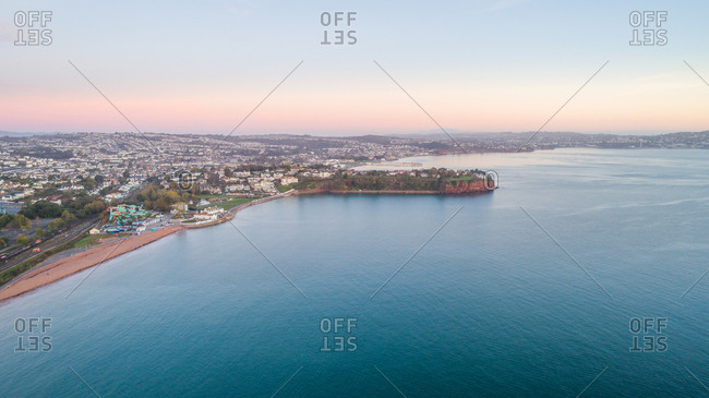 Aerial image of Tor Bay, Paignton, Devon, England, United Kingdom, Europe