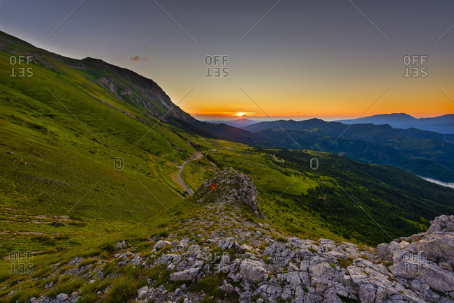 Sunrise on Mount Vettore, Sibillini National Park, Umbria, Italy, Europe