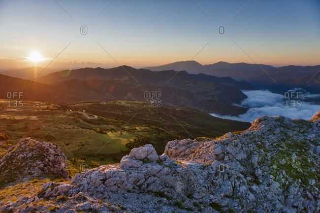 Sunrise on Sibillini mountains, Sibillini National Park, Umbria, Italy, Europe
