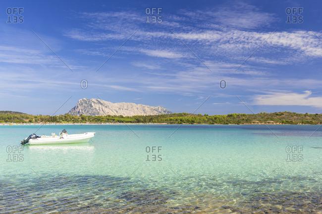 September 15, 2018: Moored boat at Cala Brandinchi, San Teodoro, Olbia Tempio province, Sardinia, Italy, Mediterranean, Europe