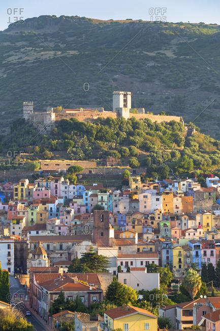 Village of Bosa with Serravalle Castle (Castle of Malaspina), Bosa, Oristano province, Sardinia, Italy, Mediterranean, Europe