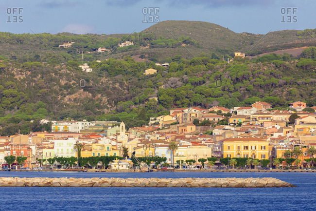 September 19, 2018: Village of Carloforte from the sea, Carloforte, San Pietro Island, Sud Sardegna province, Sardinia, Italy, Mediterranean, Europe