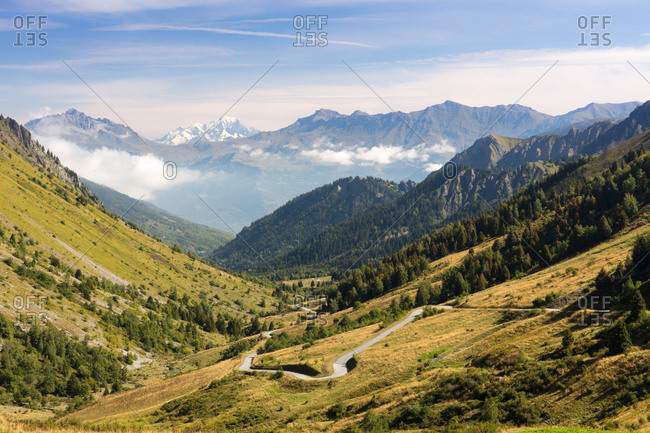 A typical view of the French Alps in the summer, with blue skies, Col du Glandon, Dauphine Alps, Savoie, France, Europe