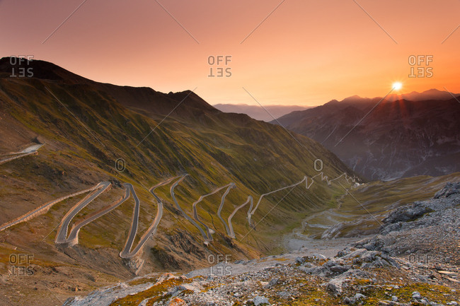Sunrise over the Stelvio Pass (Passo dello Stelvio), Eastern Alps, Italy, Europe