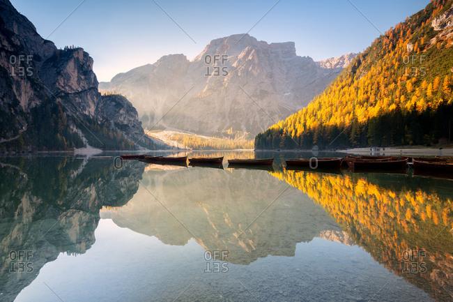 Alpine lake of Braies (Pragser Wildsee) in Trentino Alto Adige at dawn, Bolzano province, Dolomites, Italy, Europe