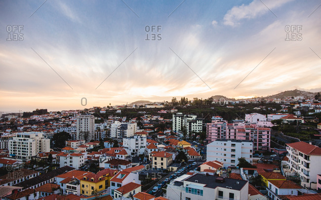 A sunset over Funchal city, Madeira, Portugal, Atlantic, Europe