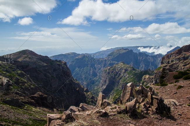View over the mountains from Pico do Arieiro peak, Madeira, Portugal, Atlantic, Europe