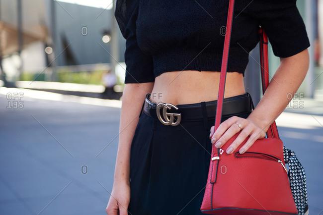March 07, 2018- Melbourne, Australia: Woman Wearing Gucci Belt at Virgin Australia Melbourne  Fashion Festival
