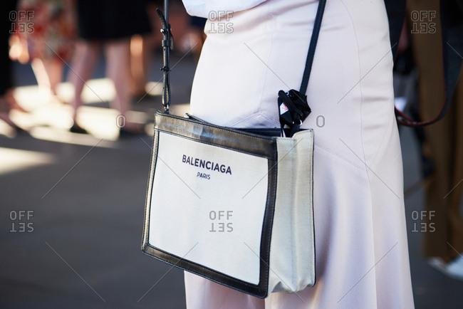 March 07, 2018- Melbourne, Australia: Fashion Show Guest Wears Balenciaga Canvas Tote at Virgin Australia Melbourne Fashion Festival